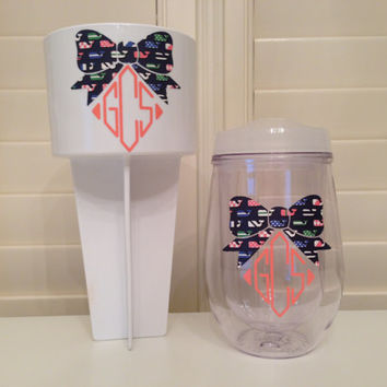 Lilly Pulitzer Vineyard Vines inspired Spiker and Monogrammed Bev2Go Double Wall insulated Acrylic with custom personalization!
