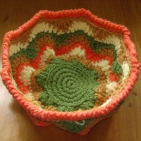 Folk Art Orange Green Tan Wavy Woven Crochet Basket - 10 inch