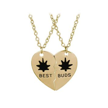 Gold and Silver Color Best Buds Good Friends Cannabis Leaves Maple leaves Two Stitching Love Necklace Valentine's Day Gift