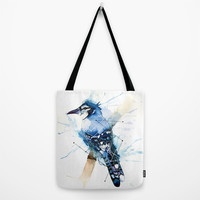Blue Jay Tote Bag by hannahclairehughes