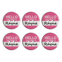 Rayna Hello My Name Is Plastic Resin Button Set of 6