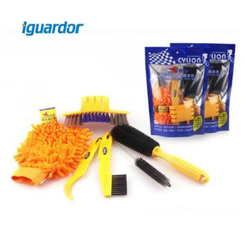 Iguardor Bicycle Cleaning Tool Kit Mountain Bike Corner Tire Brush Glove Wheel Convenient Cleaning Tools Set Cycling Accessories