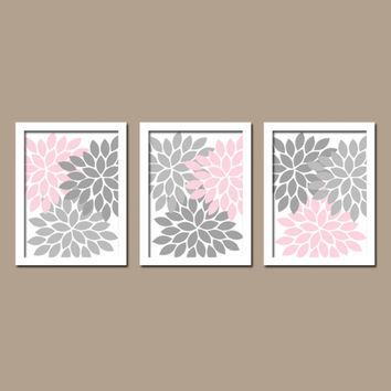 Pink Gray Custom Colors Flower Burst Dahlia Petals Artwork Set of 3 Trio Prints Decor Abstract Bedroom WALL ART Bathroom Nursery Baby Crib