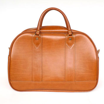 Large 1970s Faux Leather Carry On Satchel - Weekender Bag