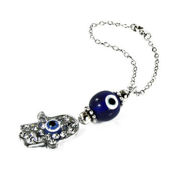 Hamsa Hand Hanging, Car Mirror Charm, Car Decoration / Dangler, Rhinestones Evil Eye Charm, Eye Car Mirror Hanging, Crystal eye charm