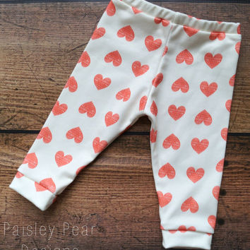 Baby Children Handmade Organic Jersey Heart on Ivory Love Valentines Day Leggings Pants Newborn to 4T