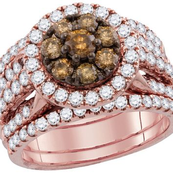 14kt Rose Gold Womens Round Cognac-brown Colored Diamond Bridal Wedding Engagement Ring Band Set 2 Cttw