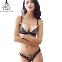 Sexy Lace Bra Set For Woman Push Up Bra And Thong Plus Size Underwear Suit Brassiere Bra And Panties Women Lingerie Embroidery