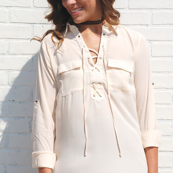 L.A. Baby Lace Up Top-Cream