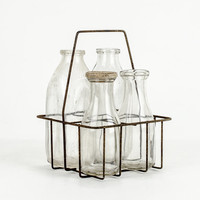 Antique Milk Bottles with Wire Carrier