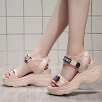 OFF-WHITE 2018 summer new wild muffin thick bottom increased casual sandals F0501-1 Pink
