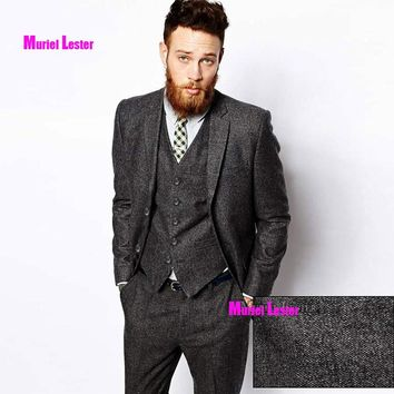 S139 Tweed Herringbone Grey Suits Men Formal Skinny Wedding Tuxedo Gentle Modern Blazer 3 Piece Men Suits(Jacket+Pants+Vest)