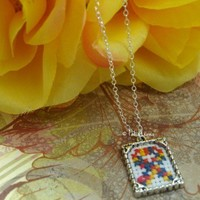 Autism Awareness Ribbon Cross Stitched pendant SS chain