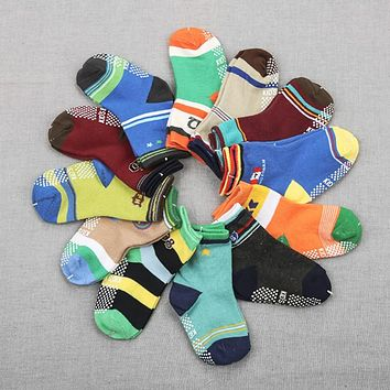 12Pair/set Baby Socks Cotton Baby Children Socks For Newborns Gift Animal Lot Anti Slip With Rubber Soles For Child Boy Girl