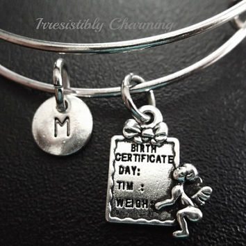 Sale.....cute little Birth Certificate charm, Silver plated Bangle, monogram personalized gifts... choose your own initial style item No.657