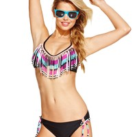 Hula Honey Printed Fringe Halter Bikini Top & Side-Tie Bikini Bottom