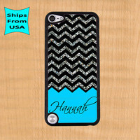 Chevron Glitter Print Monogram iPod Touch 5 Case, iPod Cover, iPod 5 Cases, iPod touch 5th generation Case(its NOT real Glitter)
