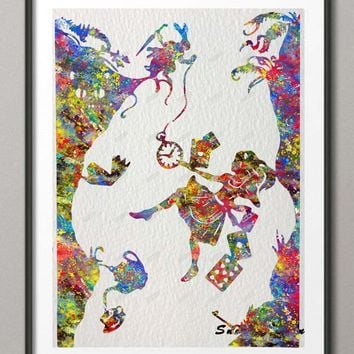 Original Watercolor Alice In Wonderland Down the Rabbit Hole poster print Pictures canvas painting wall art Kids Room Decoration