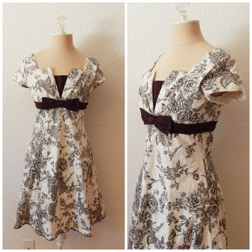 Vintage 90s Brown White Toile Cap Sleeve Midi Cotton Brunch Tea Dress XSmall Small