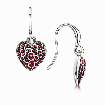 2015 Newest The Royal British Legion Red Color Flower Poppy Earrings For Remembrance Day