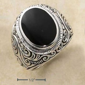 Sterling Silver Mens Oval Simulated Onyx Tapered Scrolled Floral Band Ring