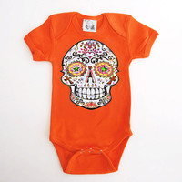 Traditional Sugar Skull Baby clothing Orange Hipster 3, 6, 9 12 18 months 1 year toddler baby shower gift Dia de los muertos kids bodysuit