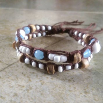 Brown Bamboo Bracelet, Blue Gemstones, Coconut Shell Beads, Double Bracelet, Summer Jewelry, Adjustable Bracelet, Fashion, Free USA Shipping