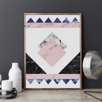 Marble Aztec Print, Marble Decor, Geometric Print, Nordic Style, Scandinavian Art, Minimalist Poster, Wall Decor, Modern Home Decor, 11x17