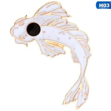 Pink/White/Black Koi Brooch Cute Goldfish Enamel Pin Denim Lapel Fish BadgeFamily Kid Blessing Gifts Friends Personality Jewelry