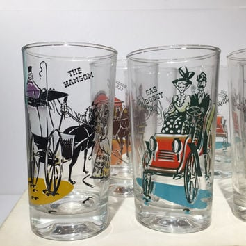 Vintage Anchor Hocking Festive Glasses Set of 8, Mid Century Cocktail Tumblers or Rocks Glasses, Highball Glasses, New in Box, Retro Barware