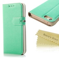 Mavis's Diary Luxury Wallet Type Flip Magnet Design Leather Cover Case with Soft Clean Cloth (Iphone 5 5S, Green)