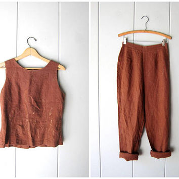 LINEN Pants Set Brown Linen Trousers & Matching Linen Tank Top Natural 90s Vintage Casual Pants Set Modern Minimal 2 Piece Womens Medium