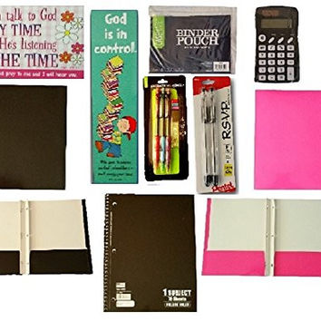 Cool Teen Supplies in Assorted Colors. Great Motivational Gift Bundle For Back To School OR Homework Help: Incls Folders, Notebook, Calculator, Pencils, Pens, Inspirational Message Card & Bookmark