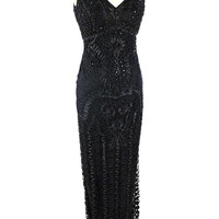 Black Beaded Illusion Lace Embroidered Gown