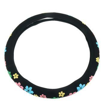 Black Steering Wheel Cover Cartoon Flowers Steering Cover All Seasons Wheel Cover 38cm