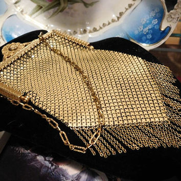 Antique Mesh Purse Mandalian Gold Mesh Metal Evening Hand Bag 1920s Art Deco Flapper Enamel Mesh Steampunk Couture Fashion Whiting Davis