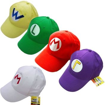 Super Mario party nes switch 1 Piece Game  Bros Luigi Baseball Hat Adjustable Summer Embroidery Cap Cosplay 5 Colors AT_80_8