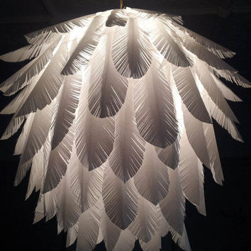 Paper feather hanging light shade