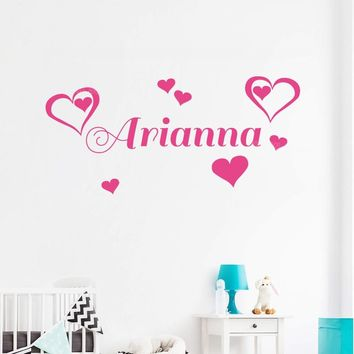 Custom Name Double Heart Wall Sticker Bedroom Hipster Lovely Kids Room Decor Girl Nursery Wall Decals Personalized Decal Z286