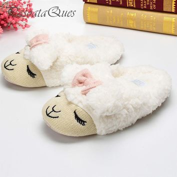 Cute Sheep Animal Cartoon Women Winter Home Slippers For Indoor Bedroom House Warm Cot