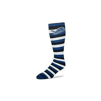 Detroit Lions Striped Knee High Hi Tube Socks One Size Fits Most Adults