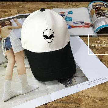 Alien Baseball Cap, UFO hat, Low-Profile Baseball Cap Hat Tumblr Inspired Pastel Pale Grunge