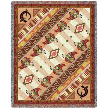 WESTERN SLANT AFGHAN TAPESTRY THROW BLANKET