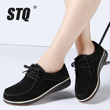 STQ 2017 Autumn women casual shoes leather suede flats Oxford shoes for women sneakers