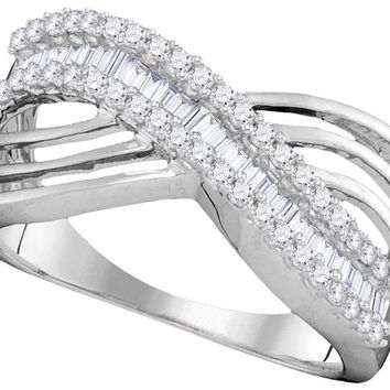 10kt White Gold Womens Round Baguette Diamond Strand Crossover Band Ring 1/2 Cttw