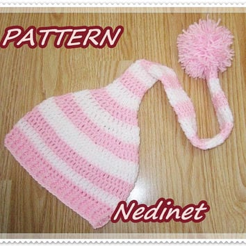 Elf crochet hat PATTERN, baby girl hat, baby boy hat