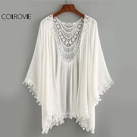 COLROVIE Vintage Crochet Kimono Tops Lace Trimmed Boho Blouse 2017 Women White Beach Summer Tops Sexy Cut Out Casual Slim Blouse