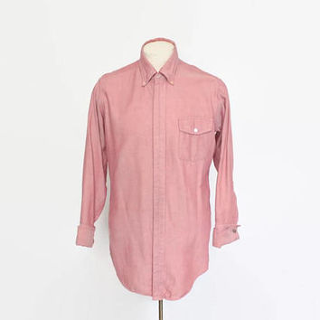 Vintage 60s Sears Work Shirt / 1960s Men's Red Striped Covered Placket Shirt L