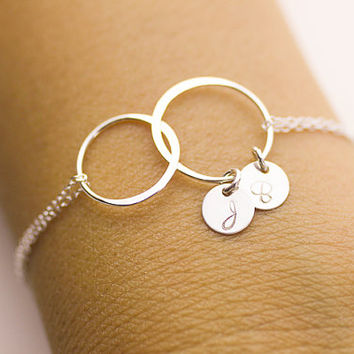 Initial Circle Bracelet . two initials infinity bracelet. Sterling Silver Charm Bracelet. love,Mom,Sister,Wife,Bridesmaid Gift