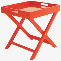 OKEN ORANGES Lacquered Neon orange folding side table - HabitatUK